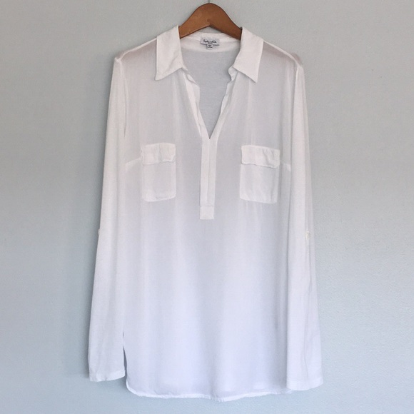 b75b1c4093 SPLENDID Semi-Sheer Shirt /w Tabbed Rolled Sleeves